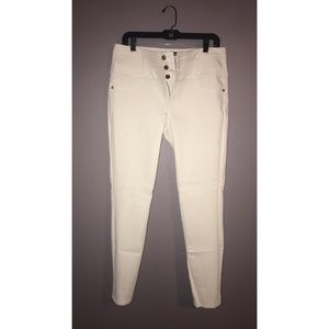 High Waisted White Skinny Jeans
